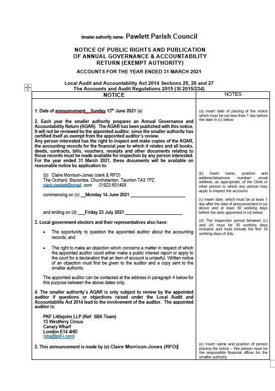 Notice of Public Rights 2021